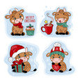 new year bull merry christmas cartoon vector image