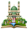 open book with happy muslim family in front of a m vector image vector image