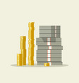 piles of dollars and coins vector image