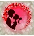 Pink design with silhouettes of two lovers vector image