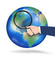 planet earth with magnifying glass vector image