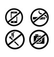 prohibitory signs in public places format vector image