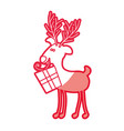 red silhouette caricature of reindeer with gift vector image vector image