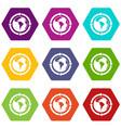round arrows around world planet icon set color vector image vector image