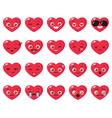 set different heart emoji vector image