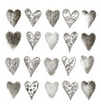 set hand drawn heart vector image vector image