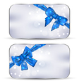 Set labels with blue gift bows isolated vector image vector image