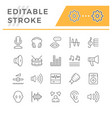 set line icons of sound vector image vector image