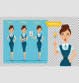 set of business women characters three poses vector image vector image