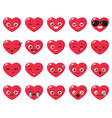 set of different heart emoji vector image