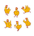set of funny cartoon hen in vector image