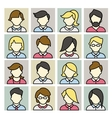 Set of icons men and women in a flat linear style vector image