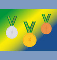 set of winner medals with brazil ribbon isolated vector image