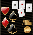 set shiny card suit icons and golden poker vector image vector image