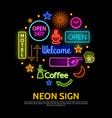 shiny neon signs round concept vector image vector image