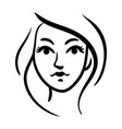 stylized contour woman head icon on white vector image