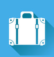 suitcase flat on blue background with long shadow vector image