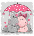 two cute hippos with umbrella under the rain vector image