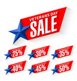 veterans day sale labels vector image vector image