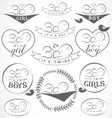 Vintage Baby Girl and Boy Badge Set vector image vector image