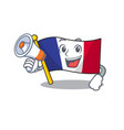 with megaphone flag france fluttered on character vector image vector image