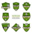 set of green soccer logo football logotype vector image