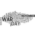 a short history lesson on veterans day text word vector image vector image