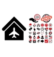 Aircraft Hangar Flat Icon with Bonus vector image vector image