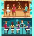 beach bar and evening bar horizontal banners vector image vector image