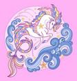 beautiful white sea unicorn among the waves vector image vector image