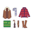 big set of stylish winter clothes and accessories vector image vector image
