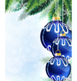 Blue Christmas tree balls and pine branches vector image vector image
