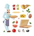 cartoon set with ingridients pizza vector image vector image