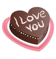 Chocolate cake shape of heart I love you vector image vector image