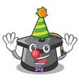 clown graduation hat mascot cartoon vector image vector image
