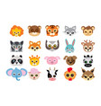 collection different animal masks on faces vector image vector image