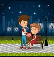 couple in love on park at night vector image