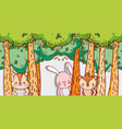 cute animals in forest cartoons vector image vector image