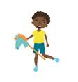 cute boy riding a horse stick toy vector image