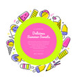 delicious summer sweets - line design style banner vector image vector image