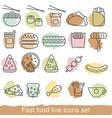 fast food line icons set fast food line icons set vector image