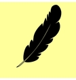 Feather sign Flat style icon vector image vector image