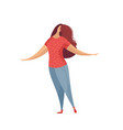 flat of woman in jeans and pink t-shirt isolated vector image