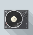 flat style turntable with vinyl record in work vector image vector image