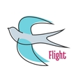 Flying blue swallow in outline style vector image vector image