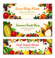 fruits and berries farm banners templates vector image vector image