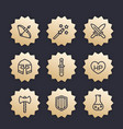 game line icons set rpg fantasy items swords vector image