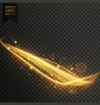 golden light streak with sparkles transparent vector image vector image