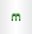 green letter m logo 3d effect vector image vector image