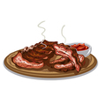 grilled spare ribs vector image vector image
